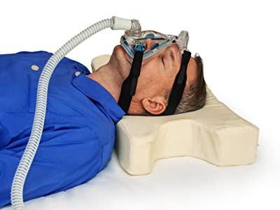 TruContour CPAP Pillow for Stomach, Side and Back Sleepers - Asymmetric cutouts and adjustable height allow 16 different head & pillow positions - Medical Grade Memory Foam