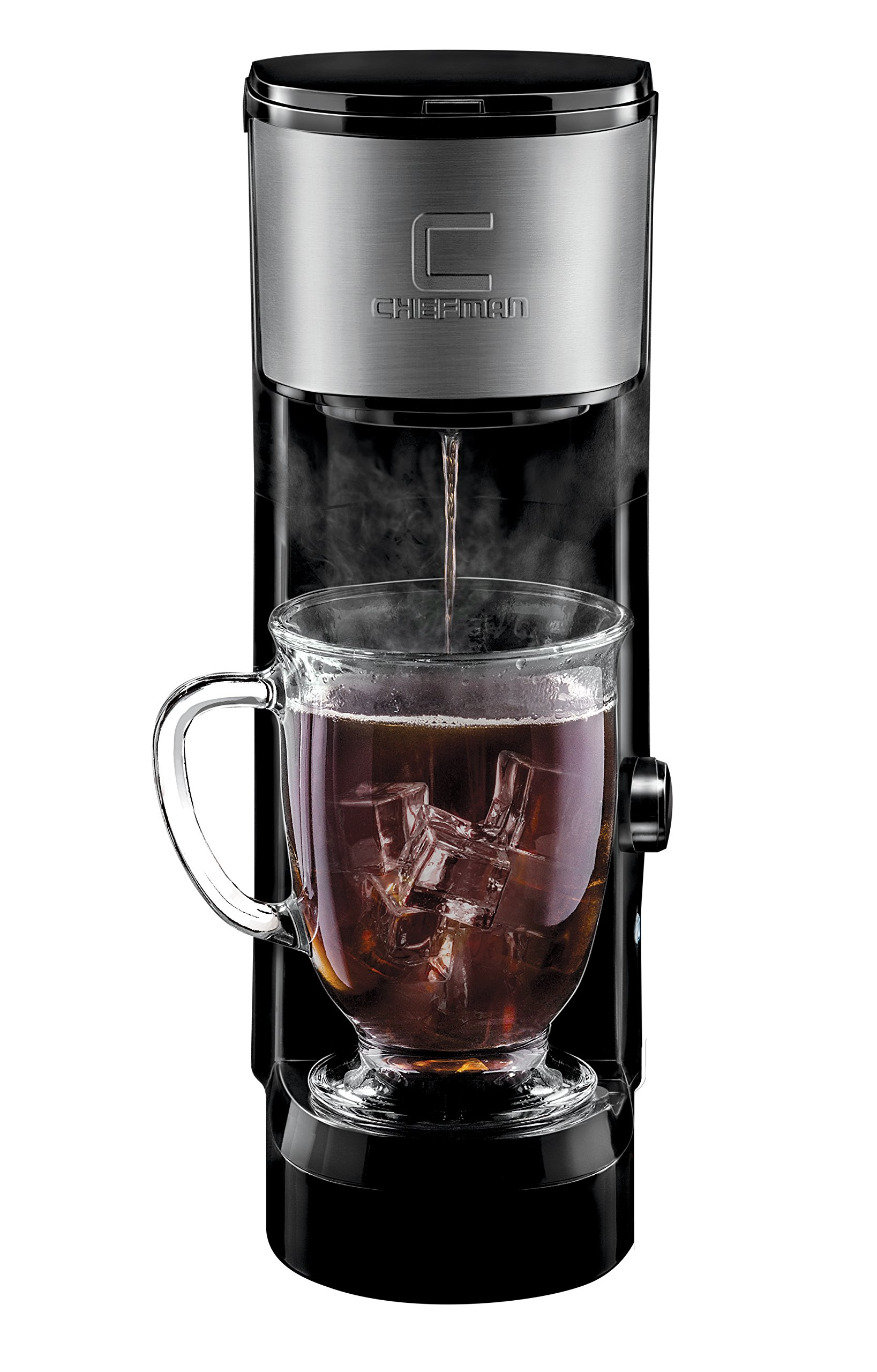 Chefman Coffee Maker K-Cup InstaBrew Brewer - Free Filter Included For Use With Coffee Grounds - Instant Reboil - Single Serve-Mug NOT Included