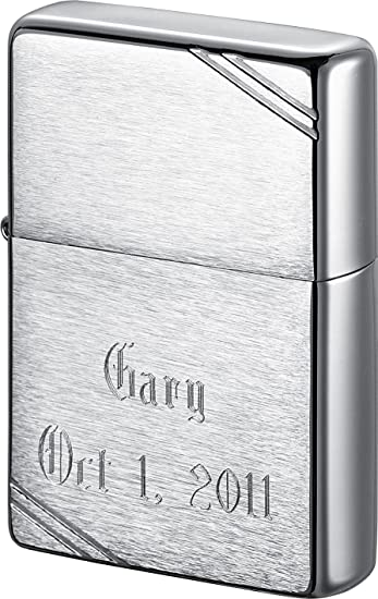Amazoncom Personalized Zippo Vintage Brushed Chrome Lighter With