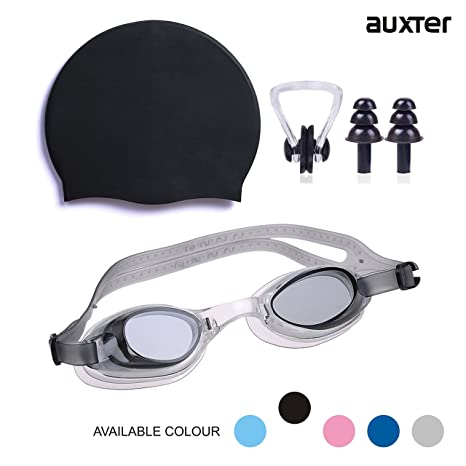 b4f9033730 AUXTER Swimming Kit with Goggles Silicone Cap + 1 Nose Clip + 2 Ear Plugs(