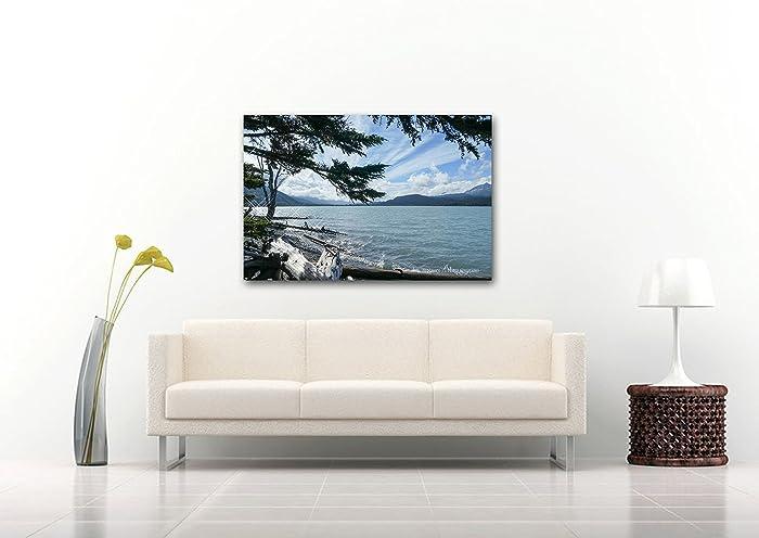Alaska Nature Print On CANVAS Kenai Lake Photography Home Decor Relaxing Wall Art Tree Photo Blue