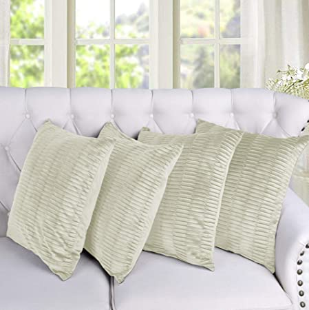 """4 x GOLD TAUPE STRIPED OFF WINE LUXURY JACQUARD 16/"""" x 16/"""" CUSHION COVERS HOME"""