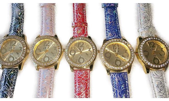 20 pcs piel sintética color mixto y diamante relojes nueva al por mayor: Amazon.es: Relojes