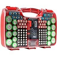 The Battery Organizer Storage Case with Hinged Clear Cover, Includes a Removable Battery Tester, Holds 180 Batteries Various Sizes Red€¦, Model Number: TBO2682