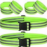 Hotop 6 Pieces Reflective Band Strap Safety Reflective Glow Belt PT Belt High Visibility Reflective Waist Belt for Arm, Wrist