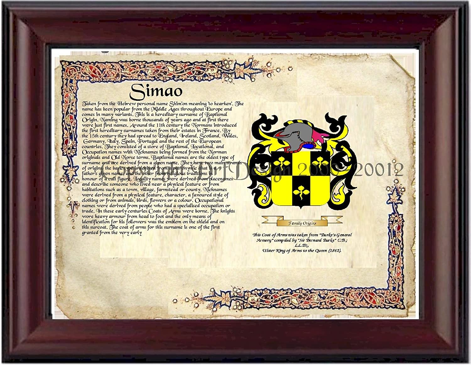Amazon.com: Simao Coat of Arms/ Family Crest on Fine Paper and ...