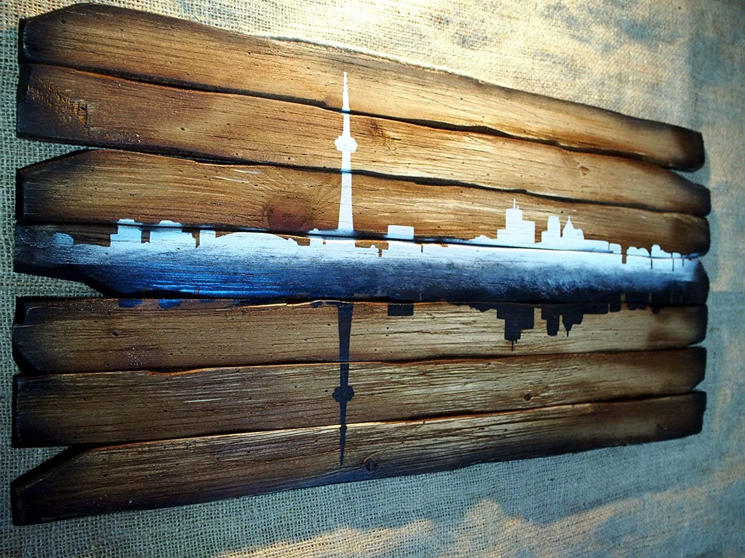 Toronto Skyline artwork | Personalized gift, Rustic home decor, city's silhouette | Hand-painted skyline on distressed wood boards