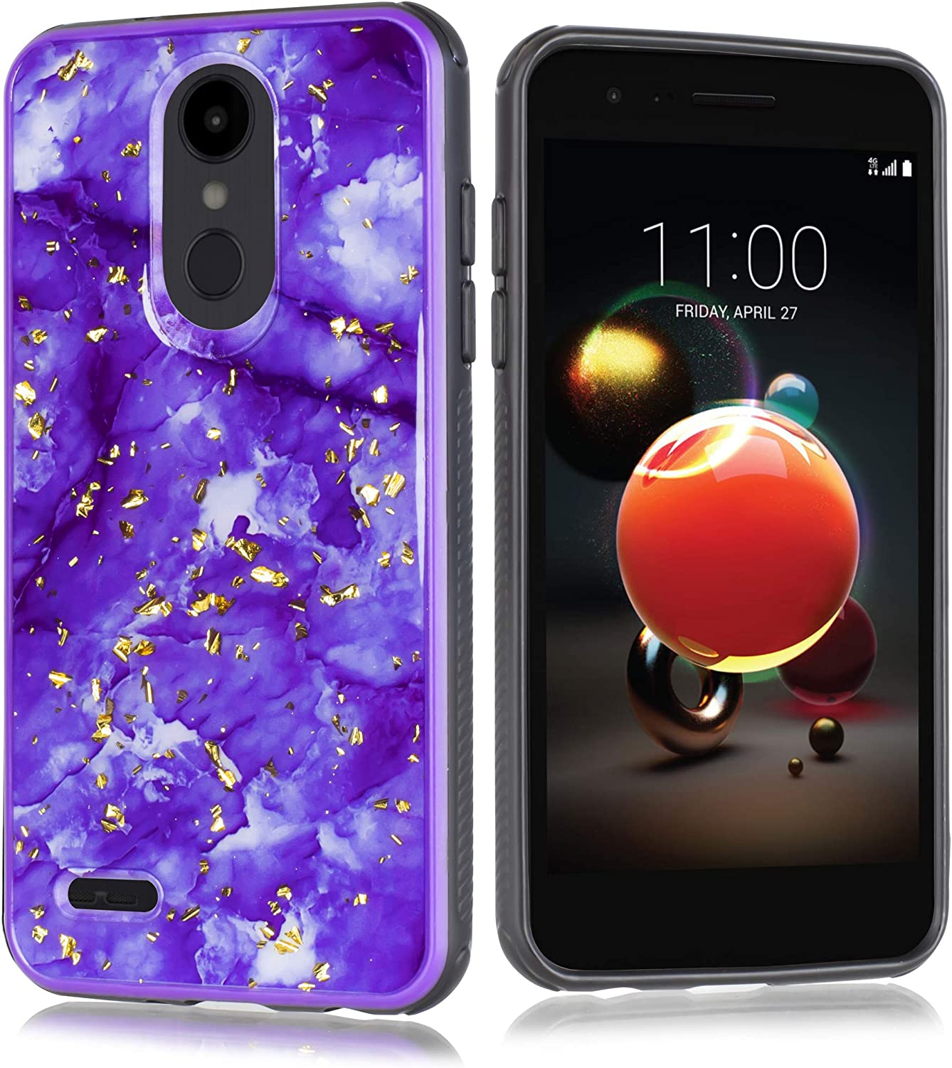 for LG Tribute Empire/Rebel 4/ Risio 3/ Fortune 2/ Phoneix 3/ LV3/ Aristo 3/ K8+/ Tribute Dynasty Girls Cute Marble Sparkle Shiny Glitter Bling Hybrid Dual Layer Protective Slim Case (Purple)