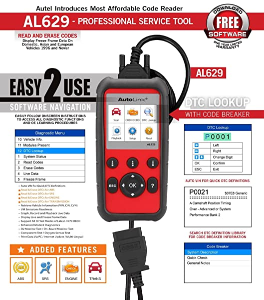 Autel Autolink AL629 is one of the reputable scanners that can effectively reset SRS lights.