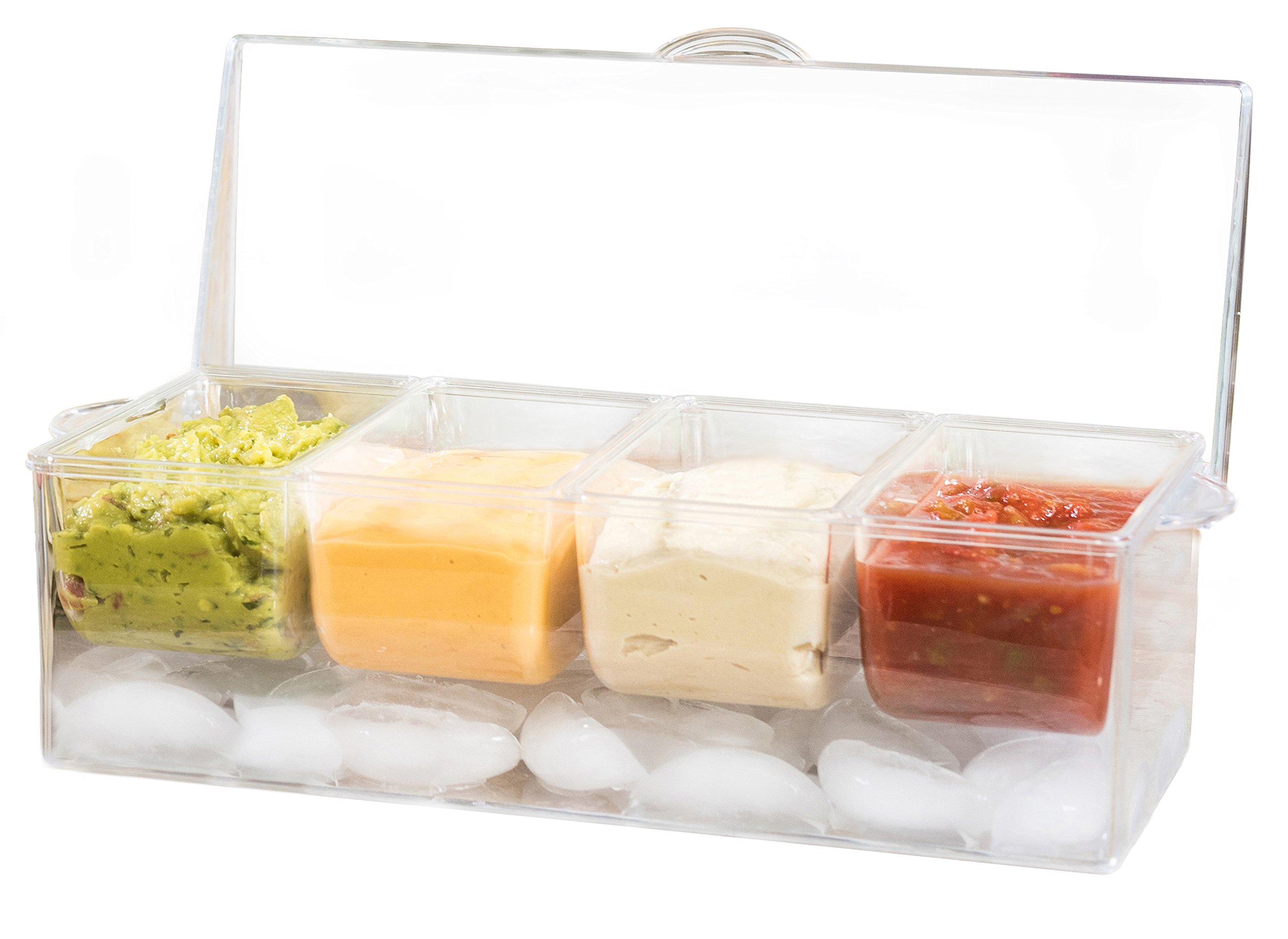 Adorn Home Ice Chilled Large Condiment Server | 4 Compartment on Ice Caddy | 4 Removable Dishes with over 20 Oz. Capacity Each with Hinged Lid | Crystal Clear Plasic