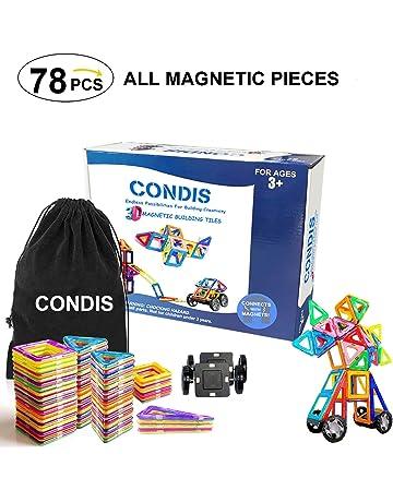 Condis 78 Piezas Bloques de Construcción Magnéticos para niños, Juegos de Viaje Construcciones Magneticas imanes