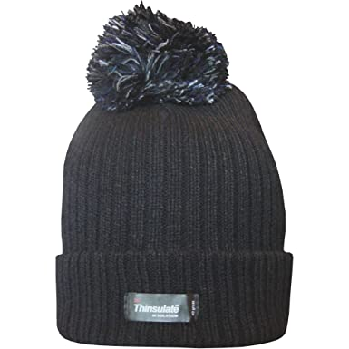 ab64f32494e Ladies Thinsulate Chunky Knit Fleece Lined Insulated Thermal Winter Bobble  Hat (Black)  Amazon.co.uk  Clothing