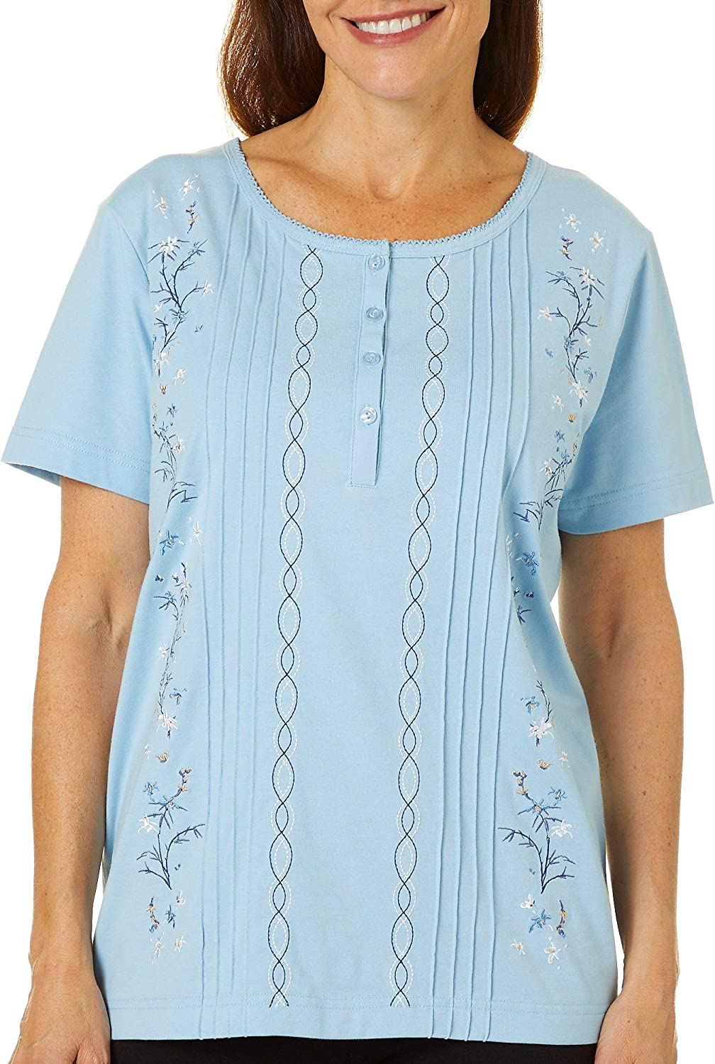 Coral Bay Womens Floral Embroidered Pintuck Short Sleeve Top 81wHNMADmeL