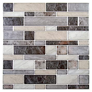 Buy Truu Design Multi Square Peel And Stick Wall Tiles Pack Of 6 10 X 10 Inches Grey Beige Online At Low Prices In India Amazon In