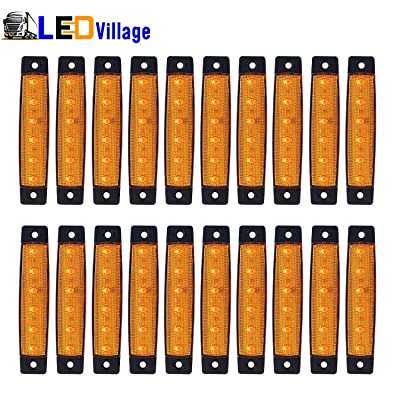 "(Pack of 20) LEDVillage 20 Pcs 3.8"" 6 LED Amber Side Marker Lights, Amber Trailer Marker Lights, Rear Side Marker Lamp Amber, Led Marker Lights for Trucks, Cab Marker, RV Marker light Yellow: Automotive"