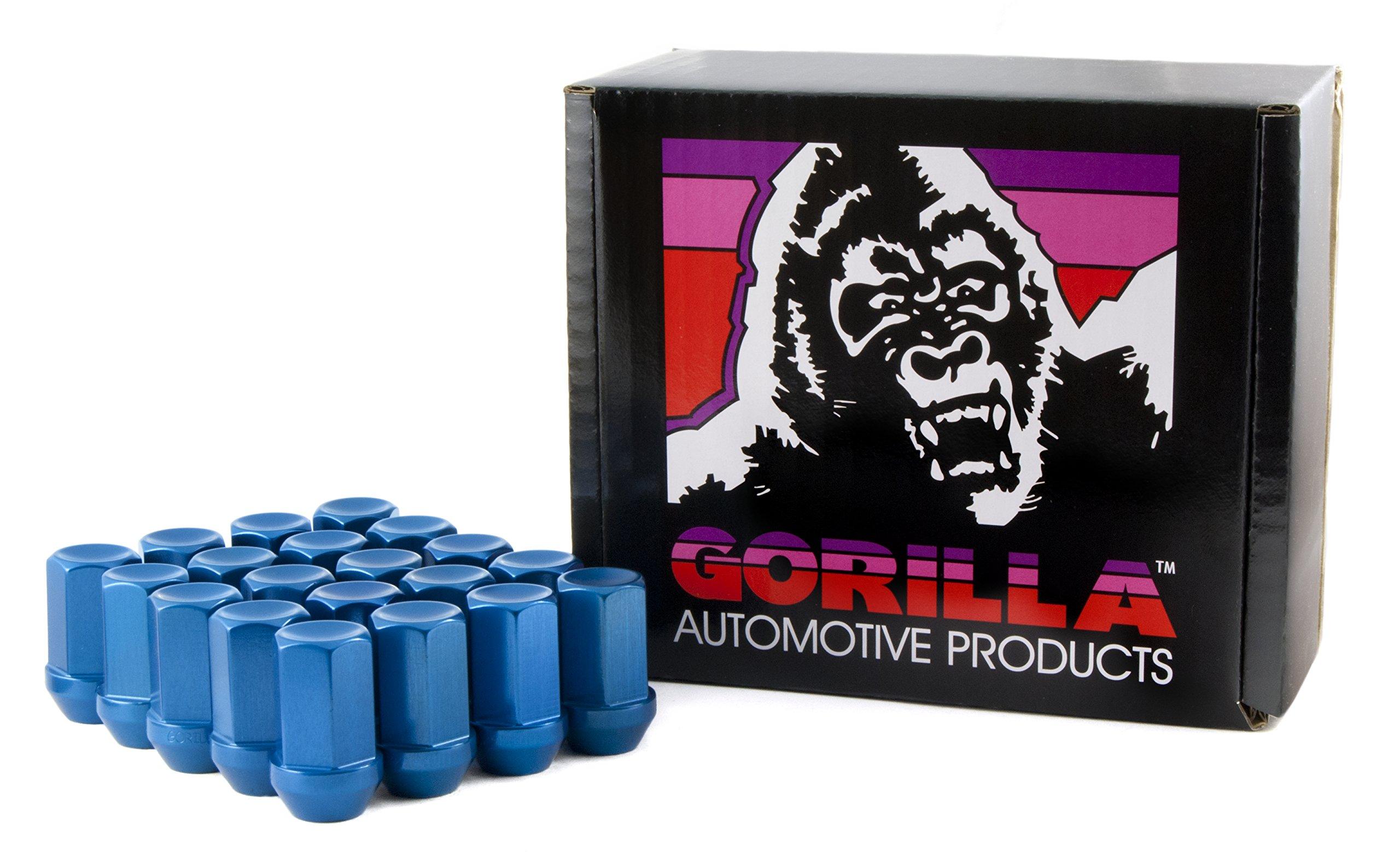 Gorilla Automotive 44128BL-20 Blue 12mm x 1.25 Thread Size Aluminum Closed End Racing Lug Nut, (Pack of 20)