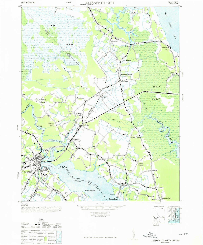 Amazon com: YellowMaps Elizabeth City NC topo map, 1:62500