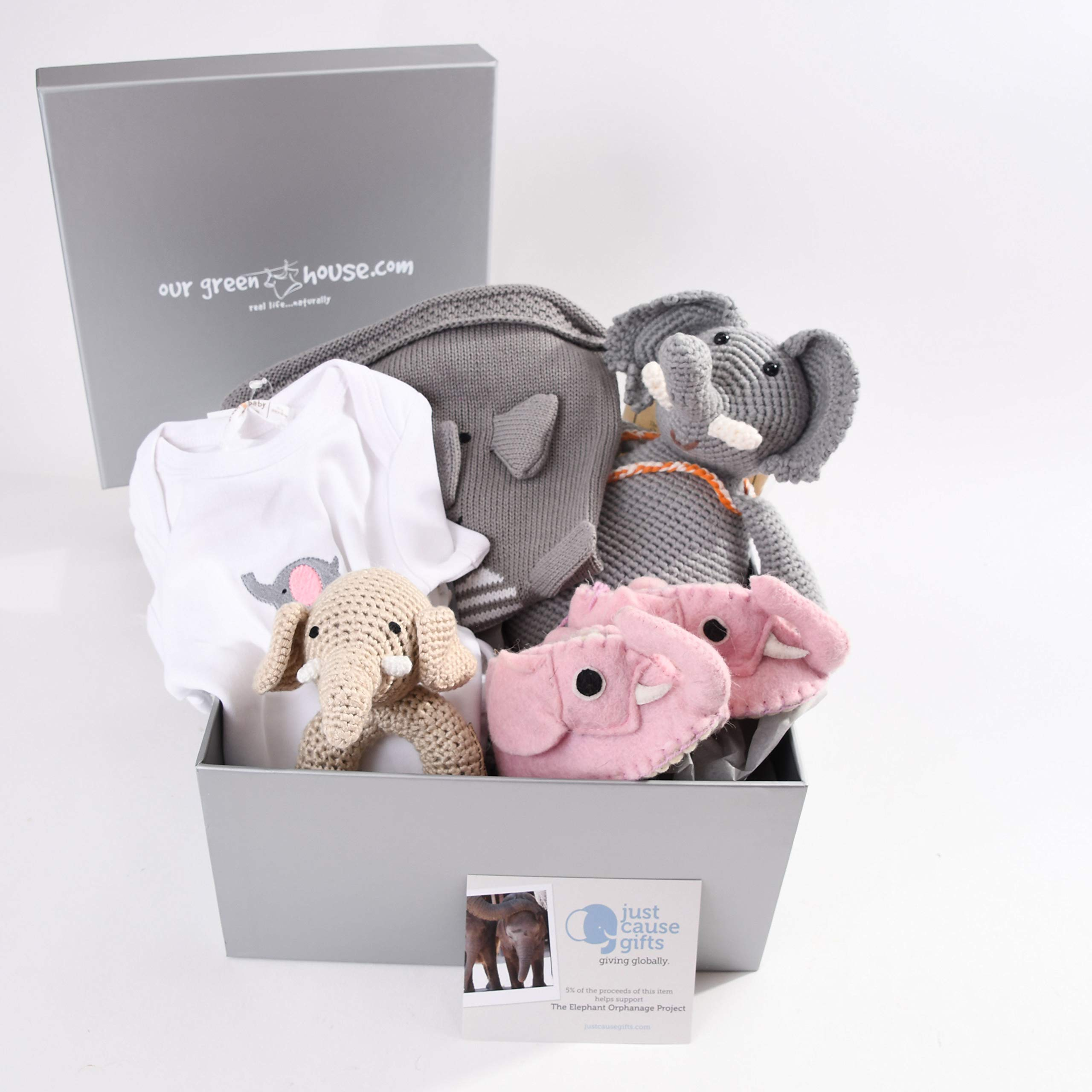 Baby Gifts That Give Back - Save The Elephants Organic Toys and Clothes for Baby Girl (3-6 Months)