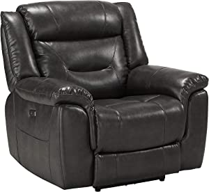 Benjara Contemporary Power Recliner Chair with Pillow Top Armrest, Gray