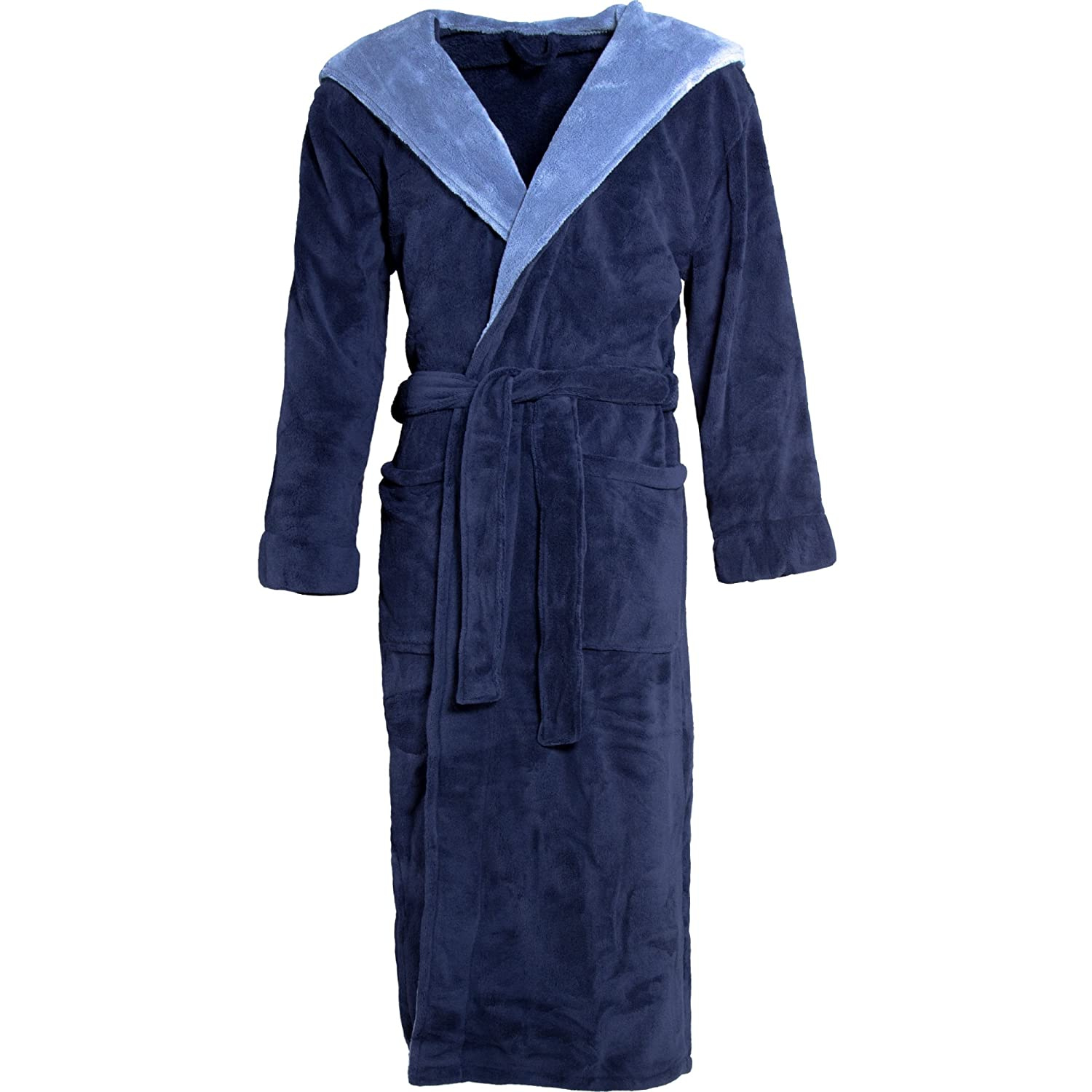 Elegant Hooded Bathrobe for Men and Women | Various Colours | Microfibre Weight approx. 260 g/m² Coral Fleece Dressing Gown Sauna Gown, Celin ATEX 0004360 Texas Beige with Cream , Microfibre, Anthracite Black, Small Celinatex 4372