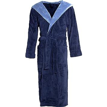 New Soft Navy Fleece Dressing Gown Hooded Pockets Bath Robe Unisex Ladies Mens