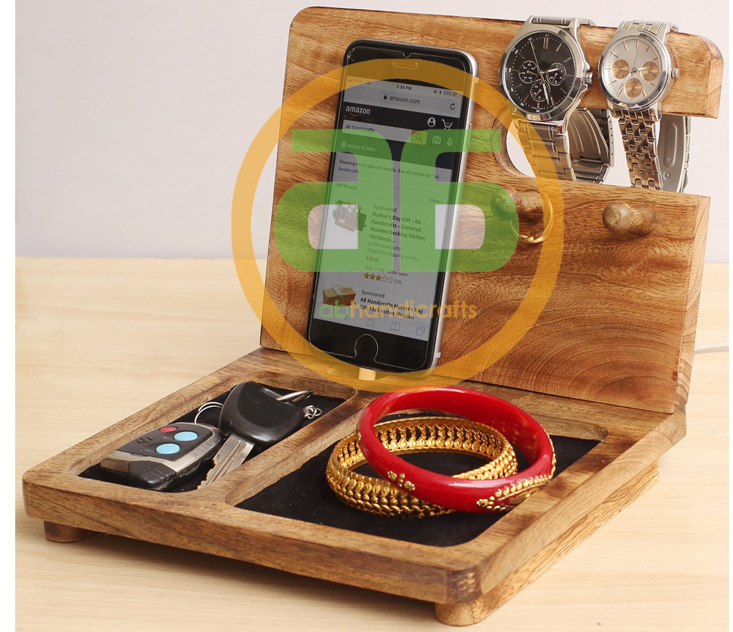 b052fa20176f durable service Wooden Docking Station - Iphone Charging Station - Wooden  Phone Stand