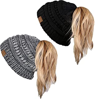 02e29cd4518 Funky Junque Women s Beanie Ponytail Messy Bun BeanieTail Multi Color  Ribbed Hat Cap