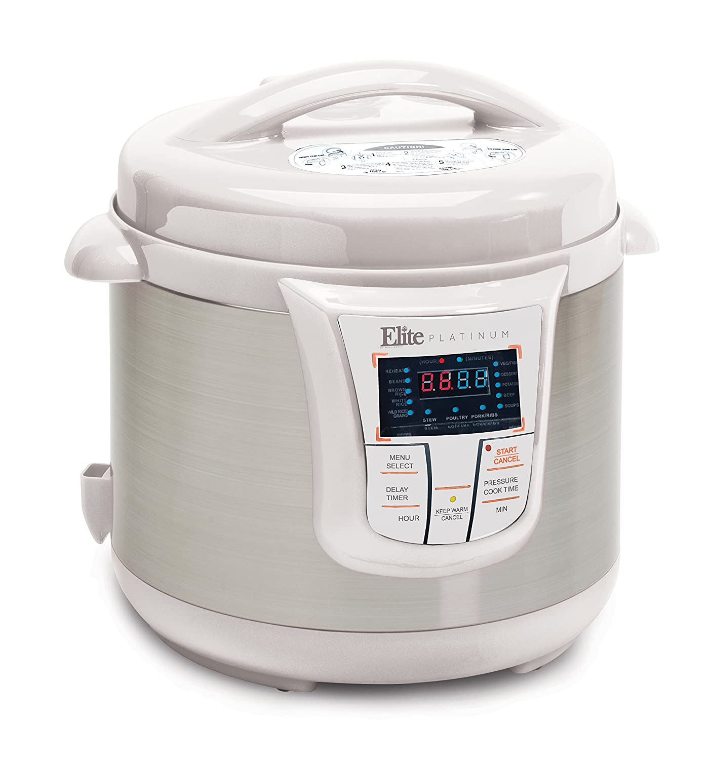 Elite Platinum 8 Quart 14-in-1 Multi-Use Programmable Pressure Cooker, Slow Cooker, Rice Cooker, Sauté, and Warmer - White