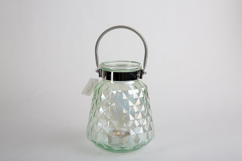 Countryfield Windlicht aus Glas in Waffelmuster Grün Perlmutt