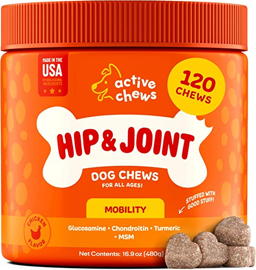 Active Chews Glucosamine for Dogs Hip and Joint Supplement   Dog Joint Supplement with Chondroitin, MSM & Turmeric  Soft Chews Supports Joint Mobility, Cartilage & Enhances Immune Response
