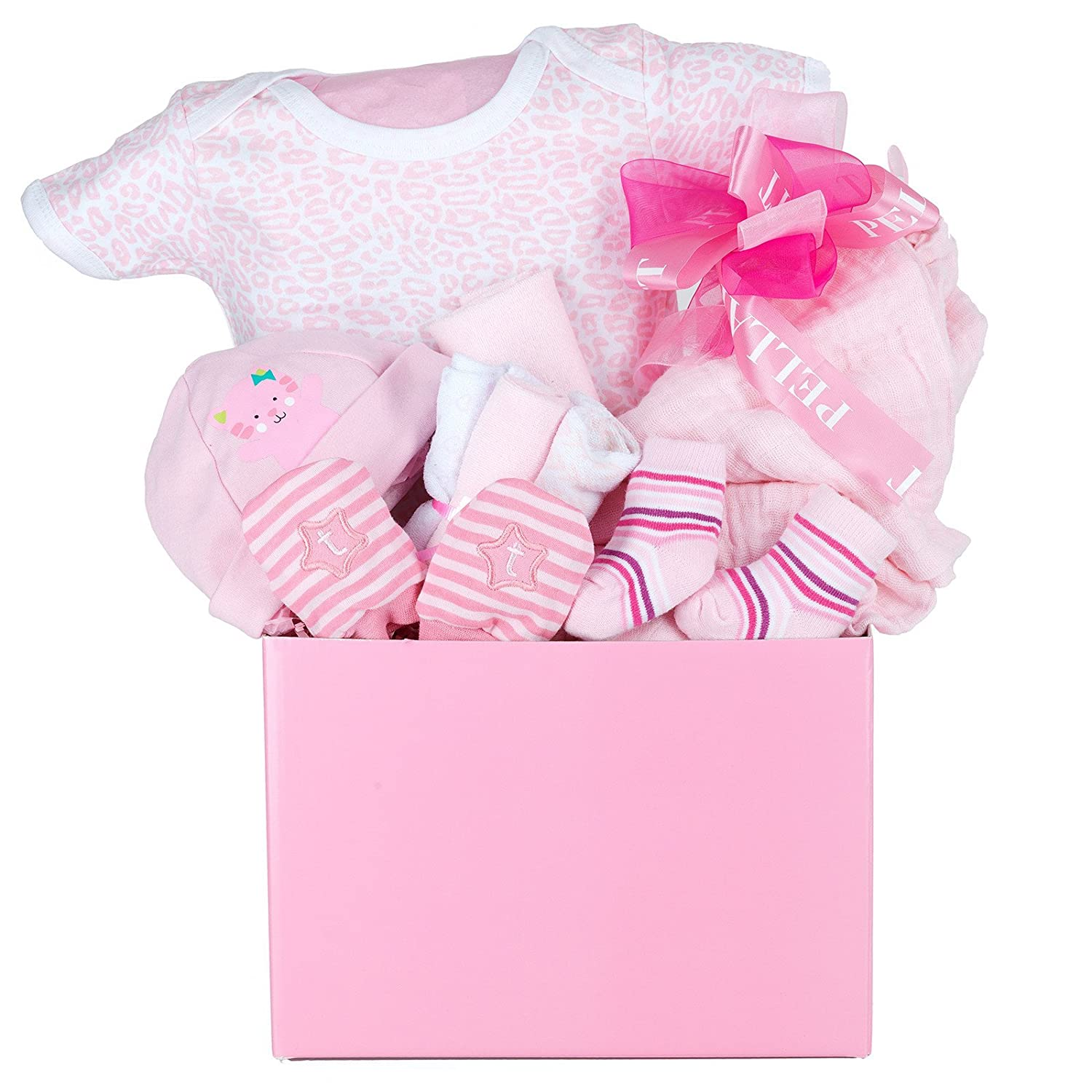 A Little Love Baby Girl Gift Basket with Cotton Onesie, Swaddling Blanket, Hat, Socks, Non-Scratch Mittens and Washclothes Pellatt Cornucopia