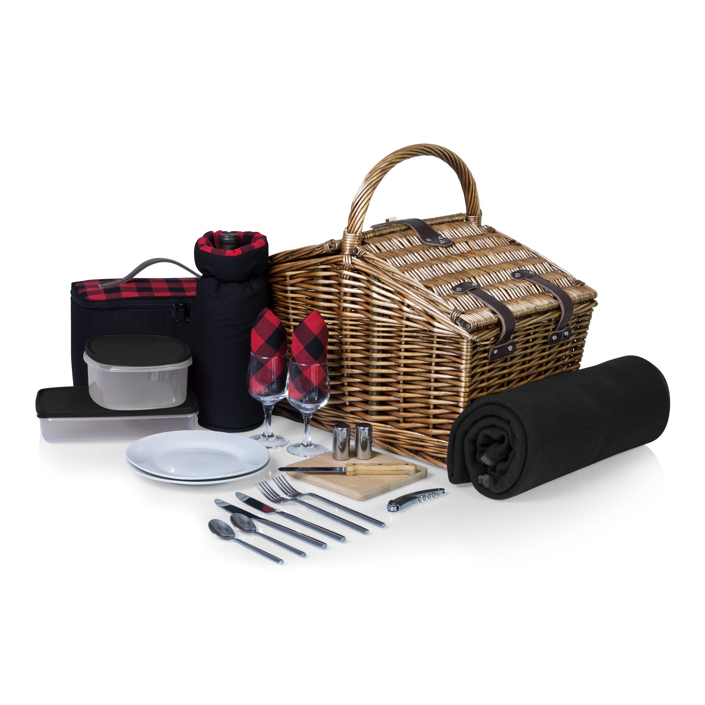 Picnic Time Somerset English-Style Double Lid Willow Picnic Basket with Service for 2 , Red/Black Buffalo Plaid by PICNIC TIME