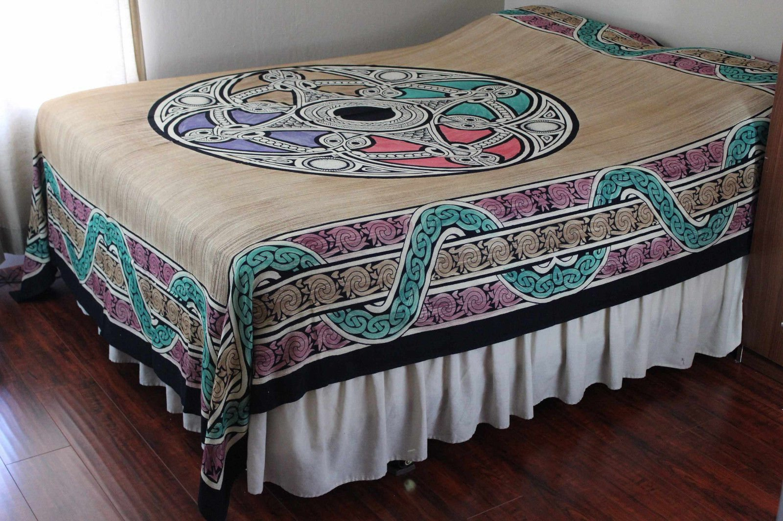 Celtic Tapestry, Celtic Bedspread Queen, Thin Cotton Throw Beach Blanket Bed sheet, Celtic Bedding Queen Dorm Tapestry Tan Beige Queen 106 x 106 inches