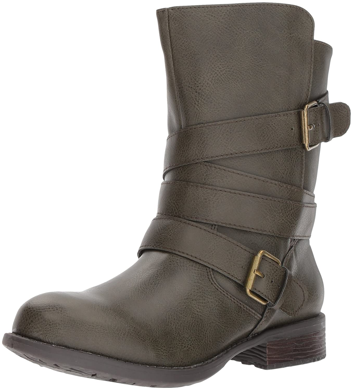 Rampage Women's Islet Motorcycle Buckle Mid Calf Low Heel Boot B076HHN8MF 11 B(M) US|Olive Polyurethane