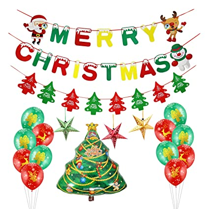 Cute Christmas Party.Merry Christmas Party Decorations Kwayi Xmas Party Decoration Pack With Banner Sparking Latex Balloon And Cute Christmas Trees Totally 36pcs For Xmas
