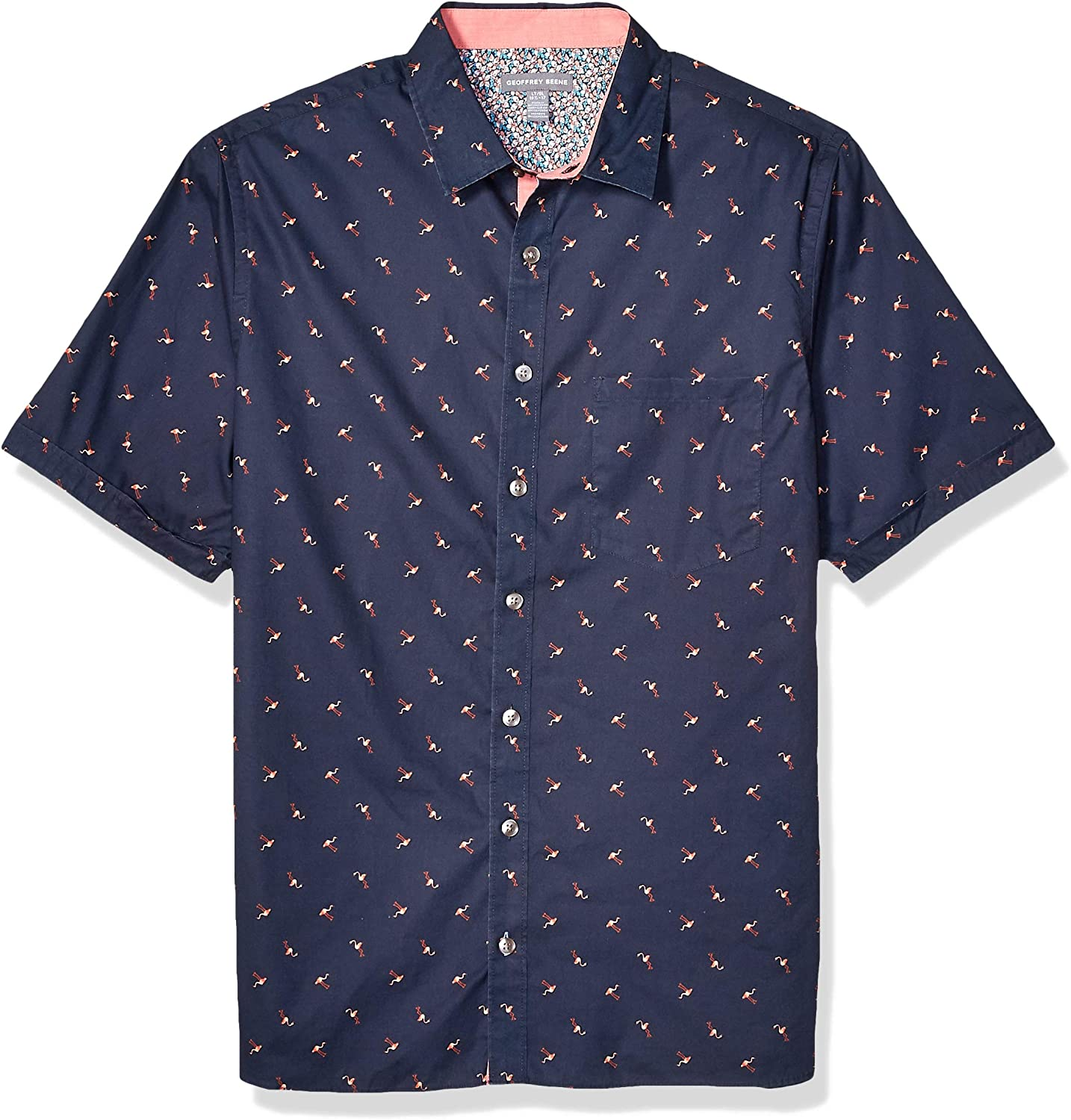 Geoffrey Beene Mens Big and Tall Easy Care Short Sleeve Button Down Shirt