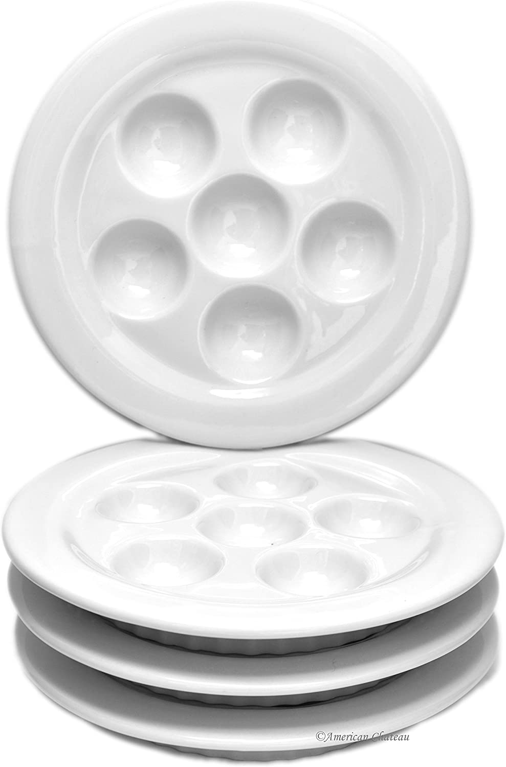 Amazon.com: Set 4 platos porcelana de color blanco Caracol ...