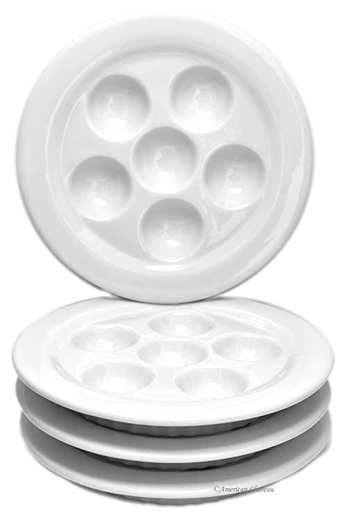 Set 4 White Porcelain Snail Dish Escargot Oven Dishes Plates with Ribbed Skirt  sc 1 st  Amazon.com & Amazon.com: Set 4 White Porcelain Snail Dish Escargot Oven Dishes ...
