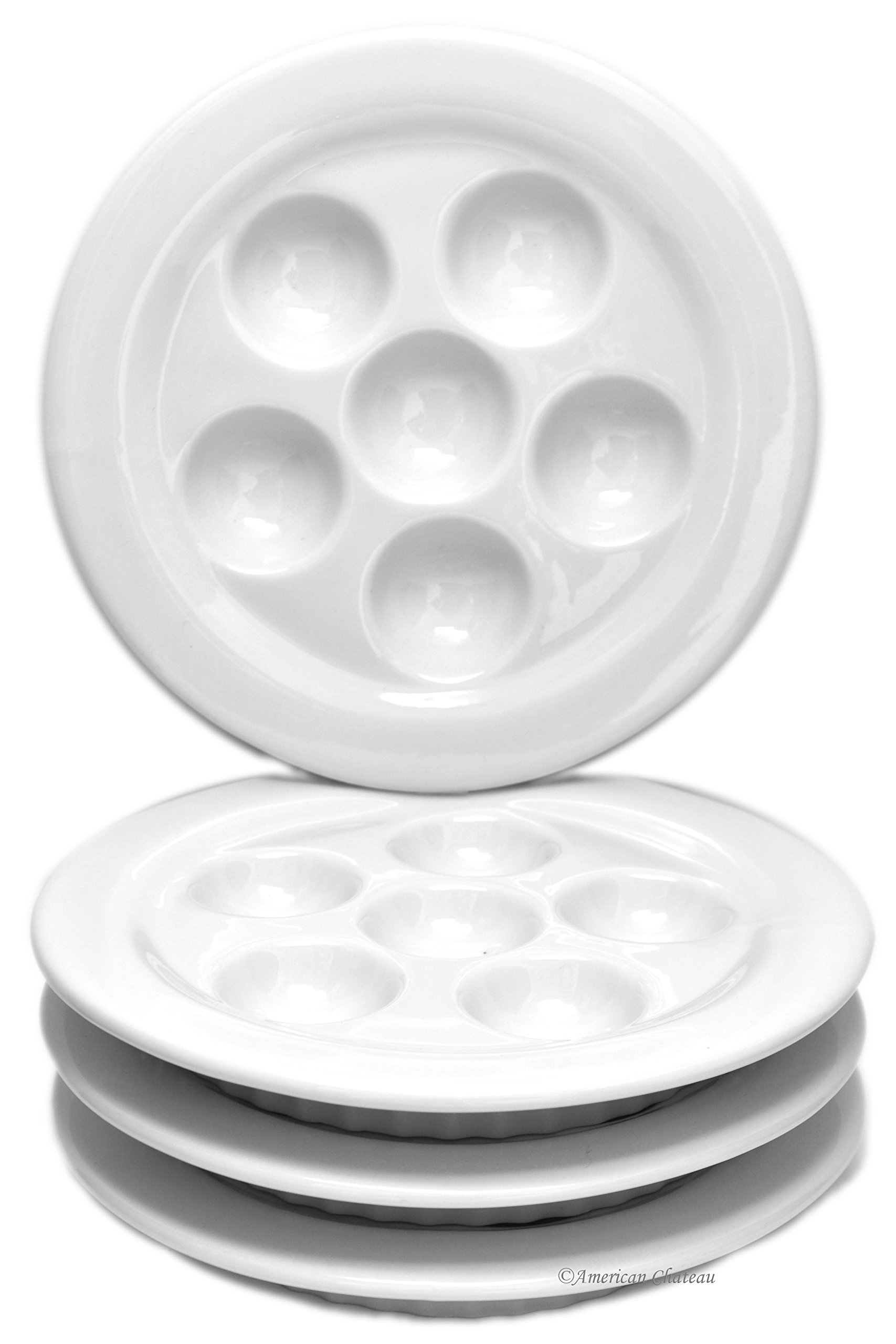 Set 4 White Porcelain Snail Dish Escargot Oven Dishes Plates with Ribbed Skirt