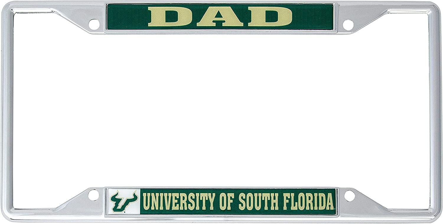 Desert Cactus University of South Florida USF Bulls NCAA Metal License Plate Frame for Front Back of Car Officially Licensed Dad