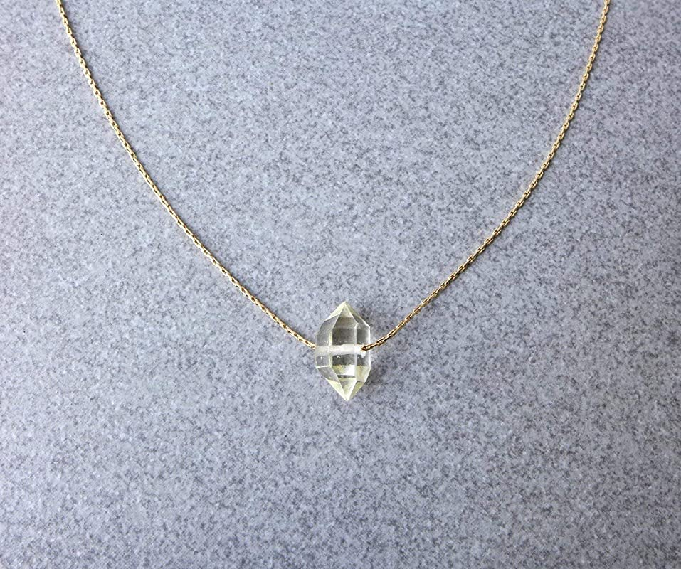 gift for her mosaic Necklace Herkimer Diamond Necklace flower crystal Sparkle Necklace Crystal Necklace Antique Brass Necklace