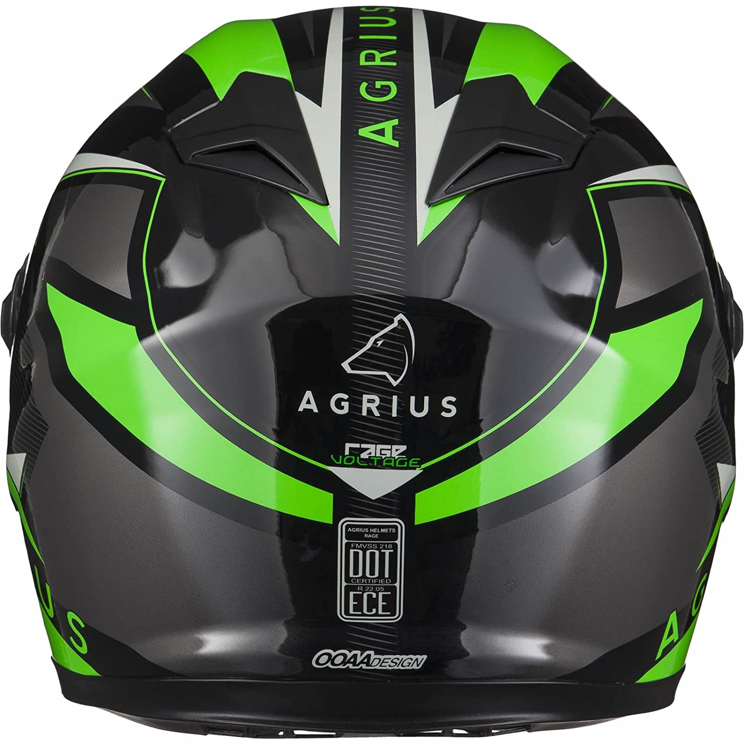 Agrius Rage Voltage Motorcycle Helmet M Gloss Black//Green