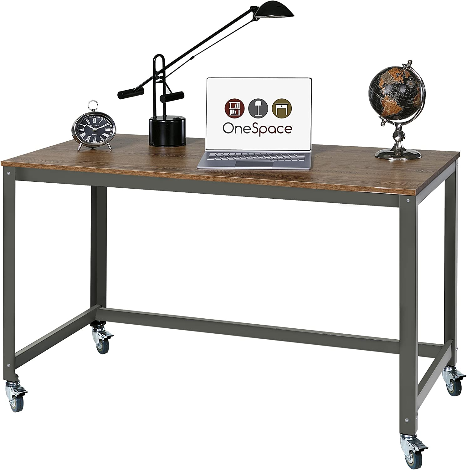 Wood Surface OneSpace Loft Writing Desk with Steel Frame