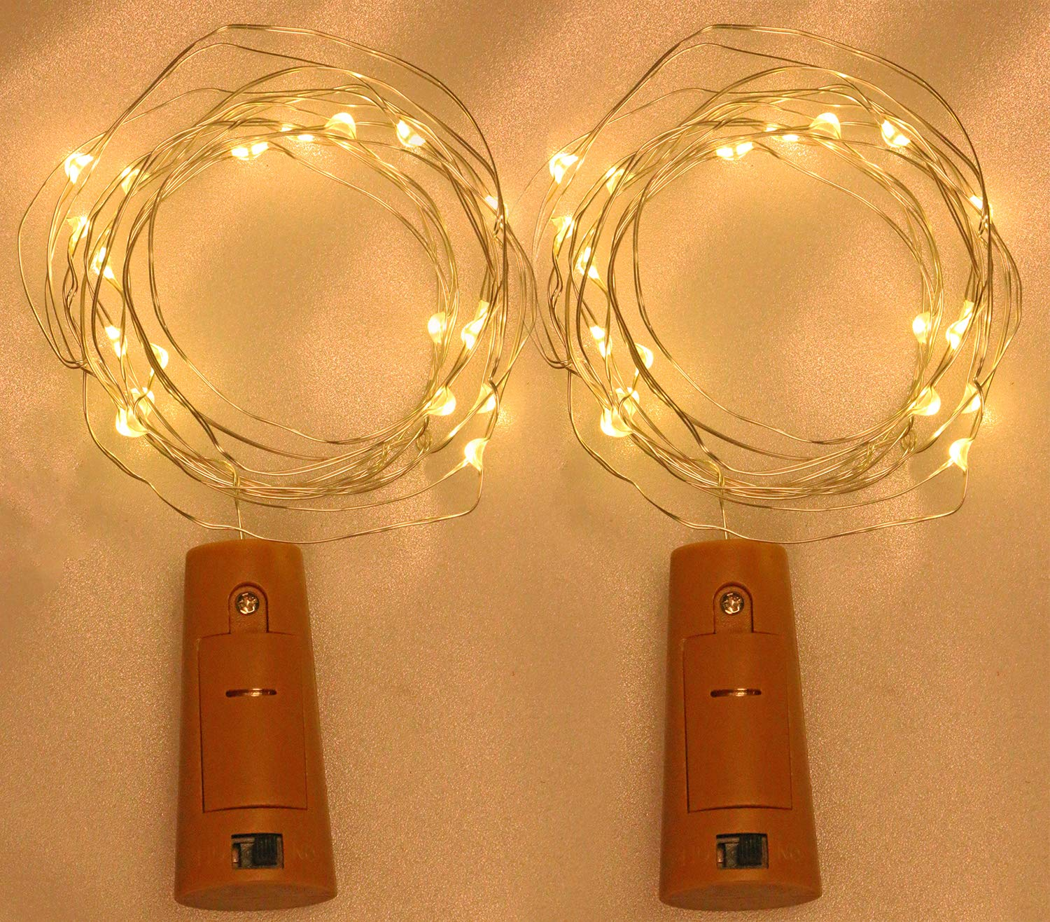 Party Christmas Bar Jar Decoration,2PCS Mini Skater 20LED Small Wine Bottle String Light Battery Powered Copper Wire Cork Shape Fairy Lights with Screwdriver for Night Light DIY Warm White