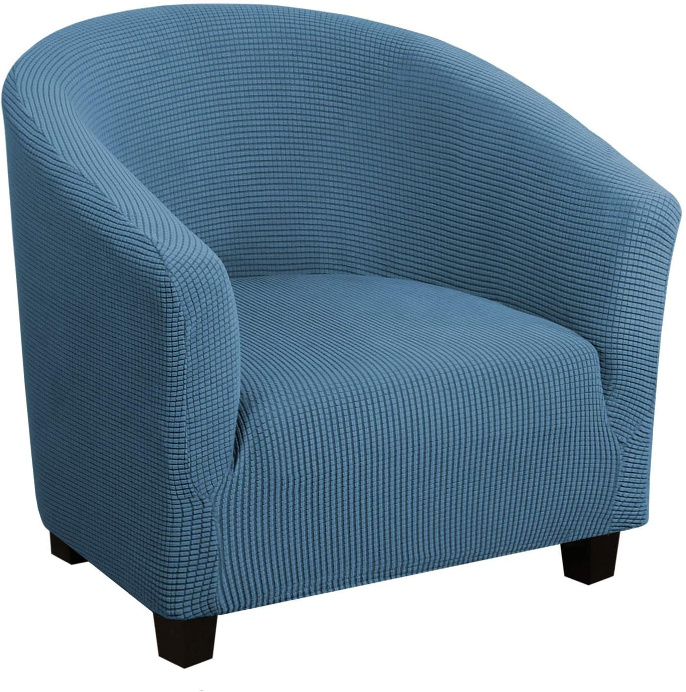 High Stretch Club Chair Cover Tub Chair Cover Armchair Sofa Slipcover with Elastic Bottom Super Soft Jacquard Spandex Skid Resistance Furniture Protector (1 Piece, Dusty Blue)