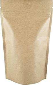 Kraft Stand Up Pouch with Zipper, Notch for Food Storage 5 X 8 X 2.5 inches (4oz) 200 pcs