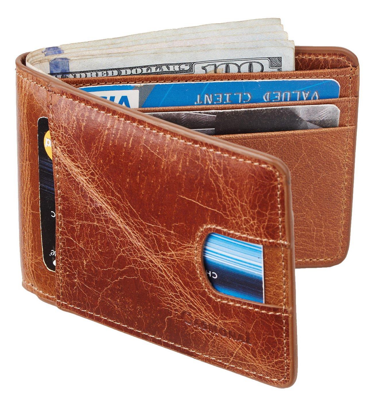 Casmonal Mens Leather Wallet Slim Front Pocket Wallet Billfold RFID Blocking (vintage brown)