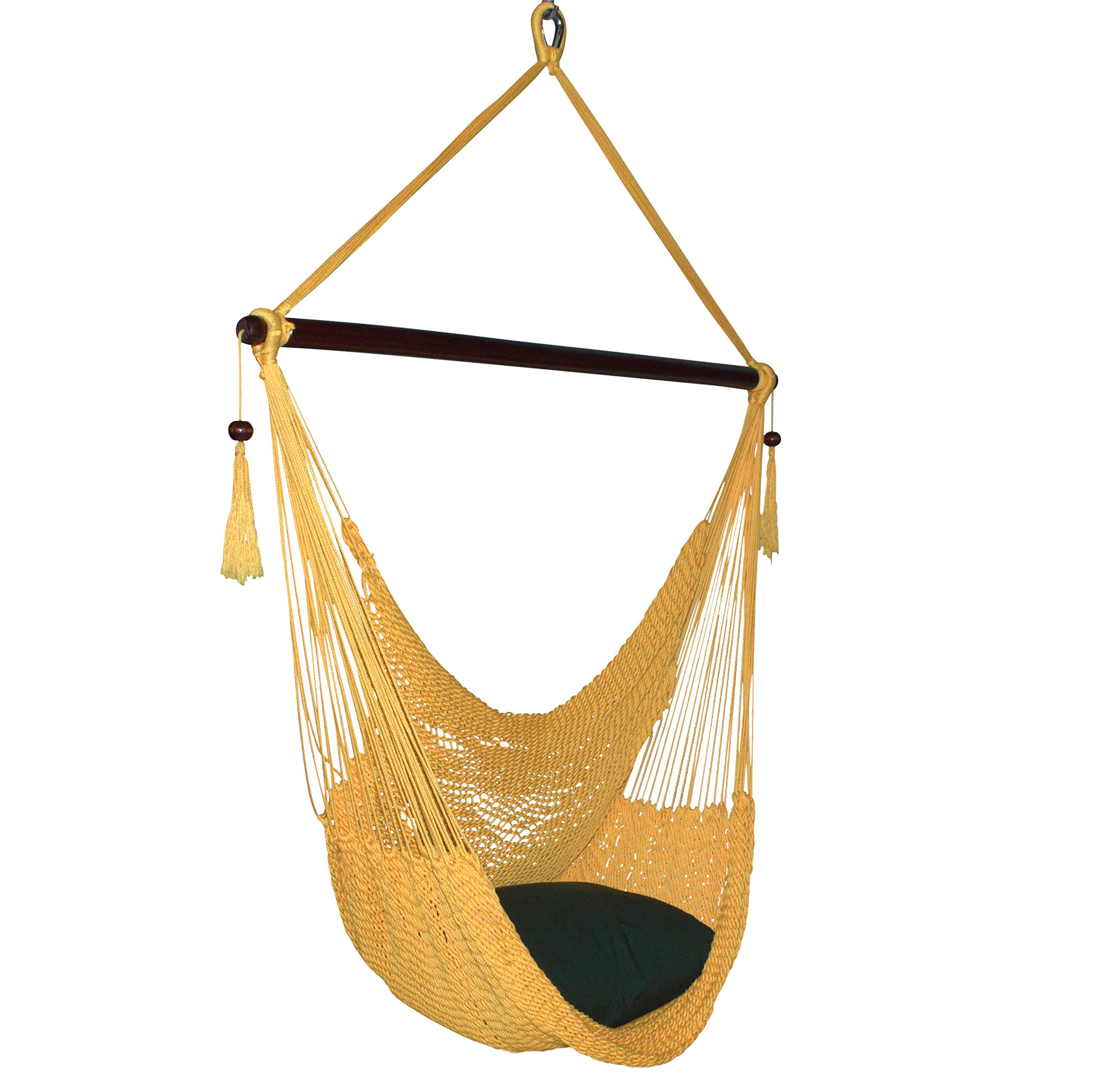 Caribbean Hammocks Large Chair with Footrest - 48 Inch - Polyester - Hanging Chair - Yellow