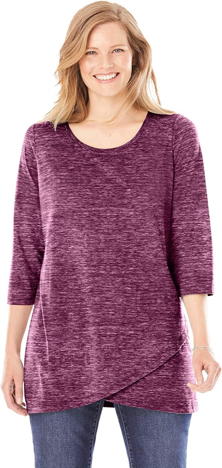 Woman Within Women's Plus Size Marled Tulip Hem Layered Tunic
