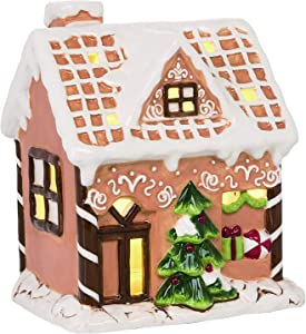 TII Ceramic Lighted Gingerbread House with Color Changing Mode, Battery Operated, 8 inches high x 6.25 Inches Wide